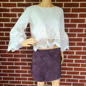 Brown Suede Leather Zippered Mini Skirt